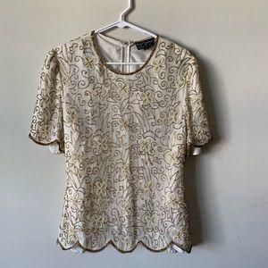 Tops - Vintage 80s 90s Art Deco glam silk beaded blouse